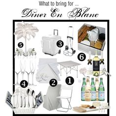 Diner en Blanc Series: What To Bring by kgabrica on Polyvore featuring interior, interiors, interior design, home, home decor, interior decorating, Robbe & Berking, Ralph Lauren Home, Kate Spade and Anna New York