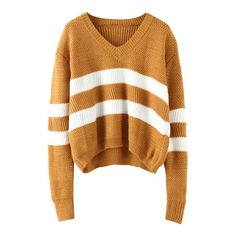 V Neck Striped Khaki Sweater ( 16) ❤ liked on Polyvore featuring tops da036392b