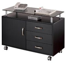 Lowest price online on all Techni Mobili Seguro 3 Drawer Wood Storage Cabinet in Graphite - Wood Storage Cabinets, Drawer Shelves, Door Storage, Storage Drawers, Glass Shelves, Storage Area, Shelf, Filing Cabinets, Wall Shelves