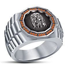 Orange Sapphire 14K White Gold Finish Jesus Christ  Men's Band Ring 925 Silver #beijojewels #MensBandRing #EngagementWeddingAnniversaryPartyWear
