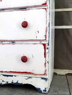 use two (or more)different colors on undercoats - one for body of dresser and one for drawers - red, white & blue is cute, but any colors would work