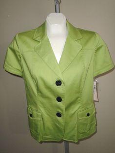 Dressbarn Studio I Size 14 Green Unlined Short Sleeve 2 Front Pocket Jacket NWT #Studio1 #Blazer