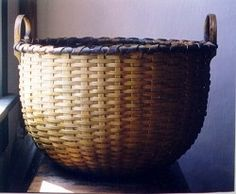 Large Apple Basket with yellow ochre and black paint finish