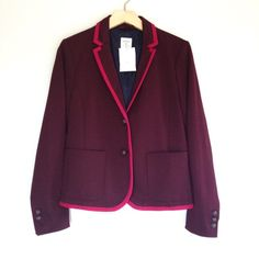 Purple & Pink Trim Academy Blazer- GAP Navy blue lining on the inside.  The lining of the sleeves are navy blue with magenta pink polka dots.  No padding in the shoulders.  Size 6.  NWT.  No trades. GAP Jackets & Coats Blazers