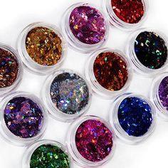 2015 12 Colors 3D Rhombus Shape Glitter Acrylic Nail Art Salon Sequins Powder Stickers Tips DIY Decor Decorations