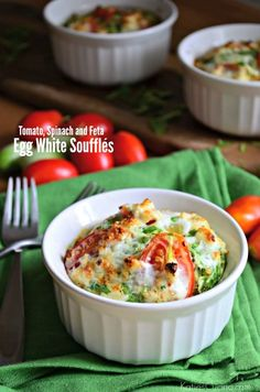 Tomato, Spinach and Feta Egg White Soufflés the perfect healthy breakfast recipe!