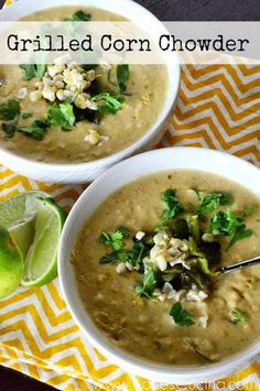 Roasted Corn Chowder Recipe With Chicken, Lime And Cilantro Recipe ...