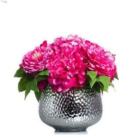A premier online destination of luxury fabrics, wallpapers and furnishings from designers and to-the trade brands. Faux Flower Arrangements, Pink Peonies, Faux Flowers, Hot Pink, Vase, Wallpaper, Plants, Fabric, Silver
