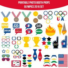 ♥ This set of Photobooth props has 29 pages and includes: 9 Mustaches 10 Lips 9 Glasses 2 Foam Fingers 5 Laurel Wreaths 2 Ties 2 Flags 5 Stars 1 Olympic Logo 1 USA 5 Color Rings 1 Olympic Flame 2 Torches 6 Medals 2 Trophies 8 Speech Bubble Signs 1 T Olympic Idea, Olympic Flame, Office Olympics, Summer Olympics, Olympics 2015, Kids Olympics, Diy Photo Booth Props, Olympic Logo, Photobooth Props Printable