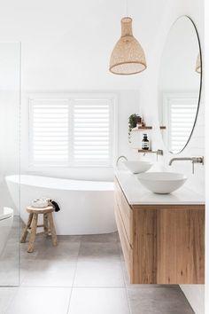 Coastal Bathrooms, Chic Bathrooms, Modern Bathroom, Small Bathroom, Master Bathroom, Wooden Bathroom Vanity, Decorating Bathrooms, Natural Bathroom, Classic Bathroom