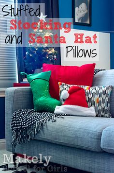 Easy Stuffed Stocking and Santa Hat Pillows or use them to wrap gifts