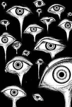 black and white / eye art / illustration Creepy Art, Weird Art, Arte Horror, Horror Art, Art Sketches, Art Drawings, Arte Dope, Psy Art, Psychedelic Art