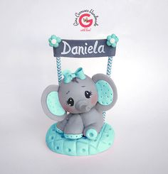 Elephant cake topper, baby elephant topper, birthday cake topper, children's cake topper, boy baby shower cake topper, circus cake topper by GinaCarrascoHandmade on Etsy https://www.etsy.com/listing/274954344/elephant-cake-topper-baby-elephant
