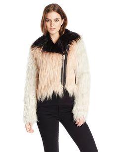 108e0c59470 Chaser Women s Color Blocked Faux Fur Moto Jacket