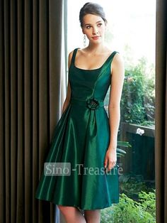 Dark Green Straps Taffeta Knee Length Bridesmaid Dress. Without that little flower?