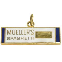 Enamel Gold Mueller's  Spaghetti Figural Charm | From a unique collection of vintage more jewelry at https://www.1stdibs.com/jewelry/more-jewelry-watches/more-jewelry/