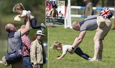 Mia horses around with dad Mike Tindall as Zara competes at Badminton Horse Trials in Gloucestershire, while Princess Anne looks on. (8 May 2016)