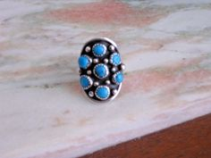 Beautiful Sterling and Turquoise Native American Ring Great Present signed D #johndelvin