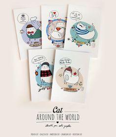 5 card A6 350 gr Cat Around the world van Sobigraphie op Etsy