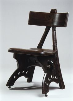 Side Chair, 1870 / Edward Welby Pugin / Stained oak, ebony, and brass / at the Met