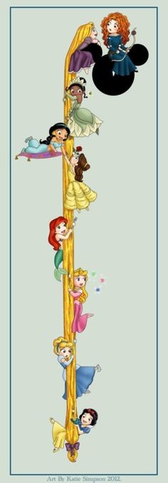 So cute! All the princesses starting with the first at the bottom to the last at the top