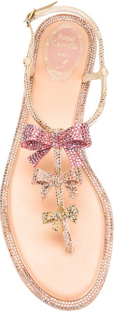 Rene Caovilla Bow Embellished Sandal in Multicolor