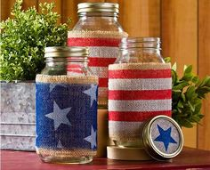 patriotic mason jars - - click thru for the full DIY from #plaidcrafts