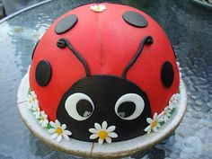 Ceebees Treasures: Een lieveheersbeestjeYou can find Character cakes and more on our website. Bug Birthday Cakes, Animal Birthday Cakes, Animal Cakes, Fondant Cakes, Cupcake Cakes, Fruit Cakes, Ladybird Cake, Cake Design For Men, Ladybug Cakes