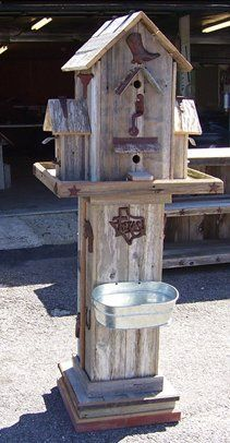 Cool Barnwood Birdhouse and Feeder at Cowboy and Cowgirl Barnwood