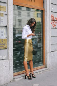 tube golden skirt and white shirt