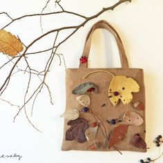 "Ladybug felt applique and embroidey by e.no.bag "" テントウムシ ノ バッグ 2015 "" #ladybug #テントウムシ #embroidery #applique #felt"