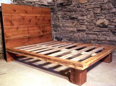 Reclaimed Wood Platform Bed From Antique Pine by BarnWoodFurniture, $995.00
