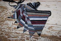 Denim Bunting Banner , Denim Garland , Striped Nursery Decor , Denim Flags , Blue Orange Red White stripes , Photo Prop , Baby Shower , Seam by SecondBirthday on Etsy