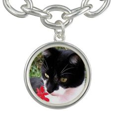 Awesome Tuxedo Cat in Garden Charm Bracelets - jewelry jewellery unique special diy gift present