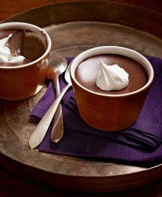 These Mocha Pots de Creme combine espresso and bittersweet chocolate for a sophisticated Valentine's dessert. (Chocolate Mousse In A Jar) Mason Jars, Mason Jar Meals, Meals In A Jar, Valentine Desserts, Valentines, Birthday Desserts, Nigella Lawson, Chocolate Pots, Chocolate Desserts