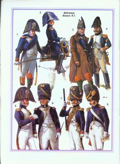 """Les Chasseurs à pied de la Garde Impériale Officers in various levels of dress, from """"marching"""" (top) to Full (bottom).  1804-15"""