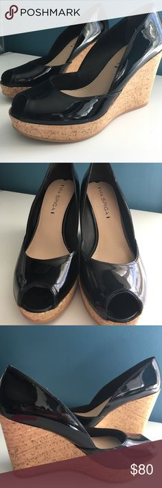 🕷NIB VIA SPIGA Black Patent Leather Wedges Sz 7 NIB VIA SPIGA black patent leather wedges with peep toe 🕷V-STAM STYLE Sz 7 🕷 NEW IN BOX Via Spiga Shoes Wedges