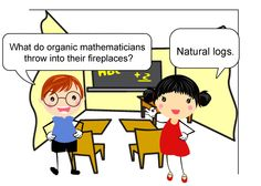 Question: What do organic mathematicians throw into their fireplaces? Answer: Natural logs. --- Follow My Math Jokes Board for more Math Humor: http://www.pinterest.com/mathfilefolder/math-jokes-humor/ #MathHumor #MathJokes