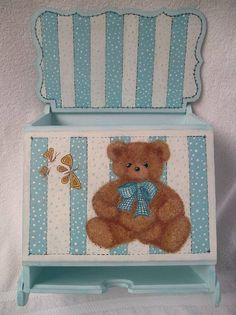 painted stripes not the bear Tole Painting, Diy Painting, Painting On Wood, Nursery Rhyme Theme, Decoupage Wood, Kit Bebe, Baby Box, Paint Stripes, Country Paintings