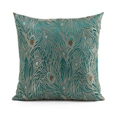 18 X 18 Peacock Feather Pattern Handmade Pillow by GlamorousJILL