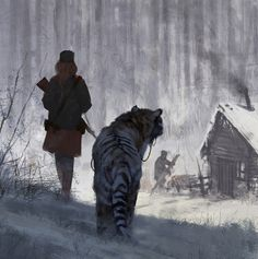 quick sketch, from my 1920+ universe, Olga and her tiger Changa, walk in the woods, cheers!