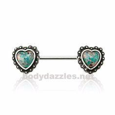 Sold by Pair 14 GA Opal Twinkle Starburst Ornate Nipple Barbell Ring 316L Stainless Steel Body Piercing Jewelry For Women Davana Enterprises