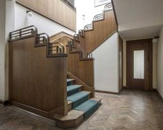 Art Deco staircase in the former W. Pearce & Co. leatherworks factory near Northampton, UK. Built in 1939, closed in 2002. This building is just one of many left vacant by the demise of Britain's textile industry.