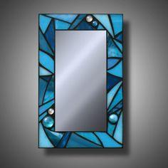 Azul turquesa manchado espejo mosaico de vidrio 8 x por MudHorseArt