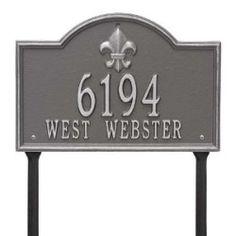 Address Plaque 14.5 x 9.875 x 0.375 inch Standard Lawn Aluminum- Bayou Vista- Two Line
