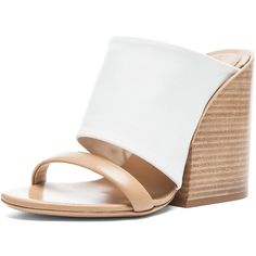 Chloe Mule Nappa Leather Sandals (40,315 INR) ❤ liked on Polyvore featuring shoes, sandals, heels, wedges, wedges shoes, wedge mules, heeled sandals, chloe sandals and leather sole shoes