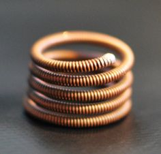 Steampunk Copper Coil Piano String Ring by dremeWORKS on Etsy, $15.00