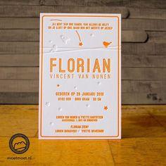 MOETMOET dutch letterpress Letterpress geboortekaartje Florian #maastricht #letterpress #fluor #oranje #geboorte #kaarten