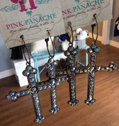 Pink Panache Large Cross Earrings