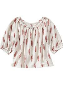 Feather-Print Dolman-Sleeve Top for Baby
